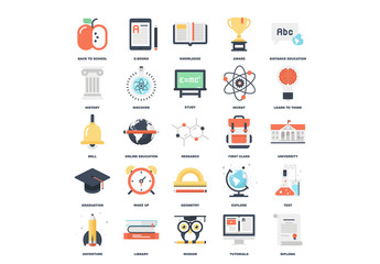 25 Flat Colorful Education Icons 1