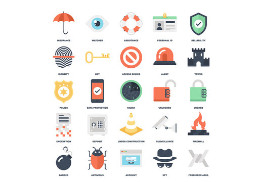 25 Flat Colorful Online Security Icons