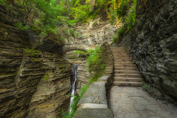Stone staircase in Watkins Glen New York