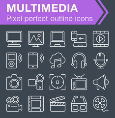 Pixel perfect outline multimedia icons for mobile apps and web design.