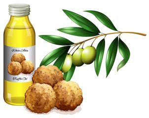 Truffle oil in bottle and fresh vegetables