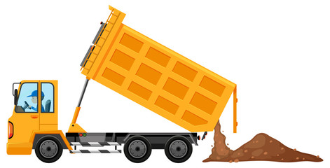 Man driving truck loaded with soil