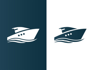 Business logo yacht floating on the waves modern simple - isolated vector