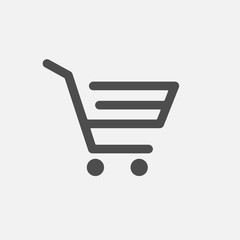 Shopping cart vector icon. Thin outline sign isolated on white. Online shop, ecommerce marketing concept for web design, mobile app, website, UI