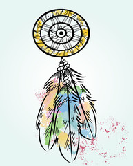 Эскиз цветной татуировки ловец снов на голубом фоне