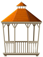 Wooden pavilion with orange roof