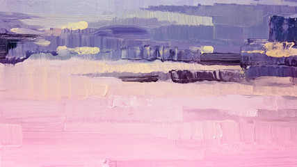 Brushstrokes of pink and purple oil paint on canvas. Abstract background.