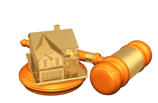 Realty Legal Gavel Concept 3D Illustration