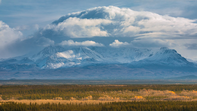 Fall in Alaska, Wrangell mountains in the background, USA