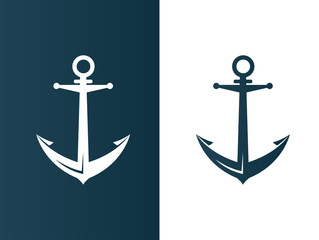 Anchor business modern logo silhouette ship - isolated vector illustration