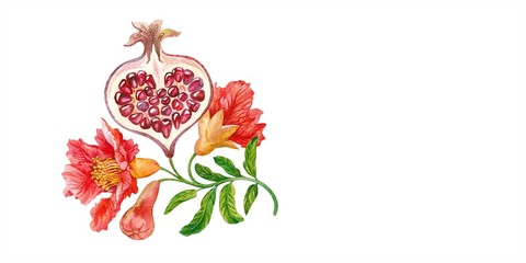 Half of pomegranate heart. Blooming branches. Watercolor.