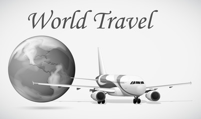 World travel with airplane and world