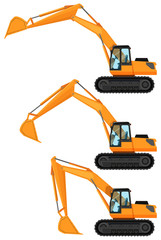 Bulldozers in three positions