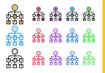 Linear hierarchical icon for startup business in different colors. Vector elements for website, mobile application