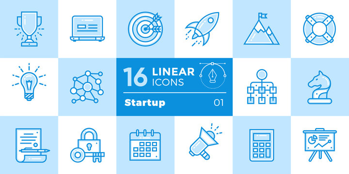 Vector collection of line icons for startup business in blue tone style. Modern outline icons for mobile application and web concepts.