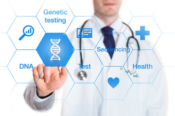 Genetic testing concept, DNA icon, medical doctor, isolated on white background