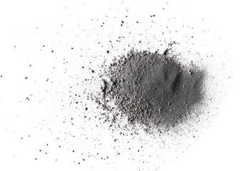 Pile gunpowder, black powder isolated on white background