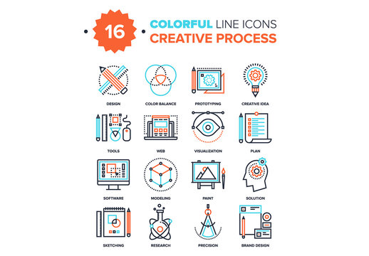 16 Line Art Creative Process Icons