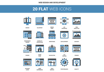 20 Flat Two-Color Web Icons