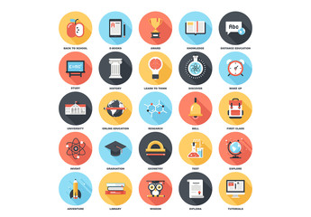 25 Circular Shadowed Education Icons