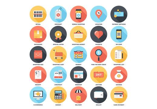 25 Circular Shadowed Shopping Icons 1