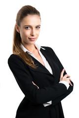 attraktive blonde Geschäftsfrau vor weißem Hintergrund
