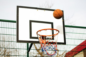 Basketball hoop in a school play area
