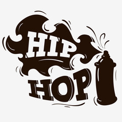 Hip Hop Label Design With A Spray Balloon Silhouette On A Brown