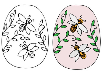 Hand drawn Easter egg with leaves and bee