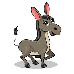 cartoon cute funny vector donkey at the white background