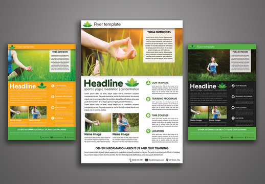 Yoga Flyer with Green Leaf Element Layout