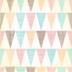 Vector Vintage Bunting Flags Triangles Seamless Pattern Background With fabric Texture. Perfect for nursery, birthday, circus or fair themed designs.