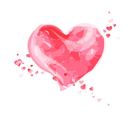 Vector Valentine day hand drawn artistic watercolor painting. Heart shape. Good for Lovers day congratulation card.
