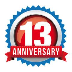 Thirteen years anniversary badge with red ribbon