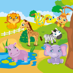 Cute Cartoon Zoo Animals
