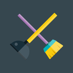 Toilet plunger and brush vector.