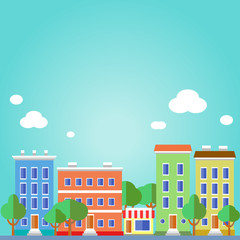 Flat design urban landscape illustration.