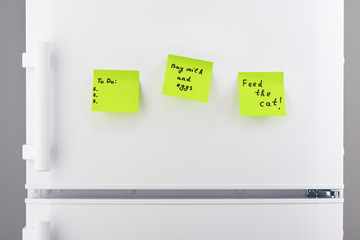 To do list, feed the cat, buy milk and eggs note on refrigerator