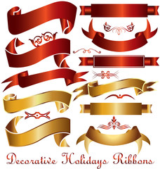Ribbons set of holidays decoration red and gold vintage collection