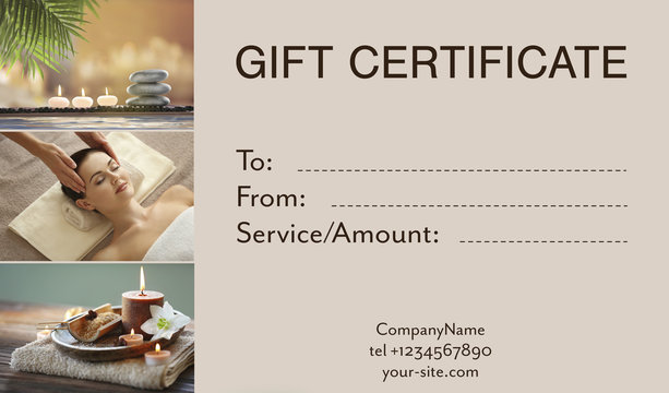 Holiday celebration concept. Spa service gift certificate
