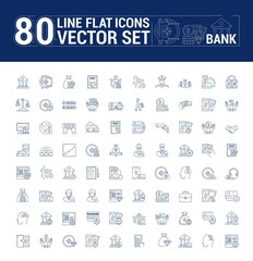 Vector graphic set. Icons in flat, contour, thin and linear design.Bank building.Economy, currency, and commerce.Protection of bank vault. Euro, dollar and gold.Concept sign, symbol for Web site, app.