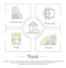 Vector graphic set. Icons in flat, contour, thin and linear design.Bank. Banking system. Simple icon on white background.Concept illustration for Web site, app. Sign, symbol, emblem.