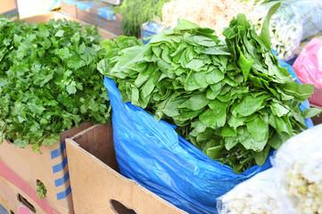 Fresh parcel and sorrel on market
