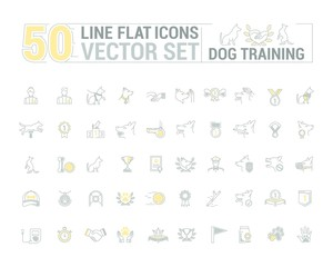 Vector graphic set. Icons in flat, contour, thin and linear design.Process of dog training. Simple icon on white background.Concept illustration for Web site, app. Sign, symbol, emblem.