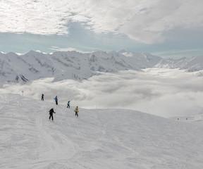 Ski resort of a valley of Zillertal in bad weather - Mayrhofen region, Austria