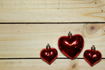 Heart on a wooden floor.Background Valentine's Day with hearts.