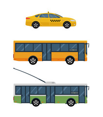City transport vector flat illustrations. Bus, trolley bus and taxi isolated on white background.