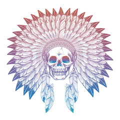 Hand drawn colorful skull in native american headdress isolated on white. Vector illustration