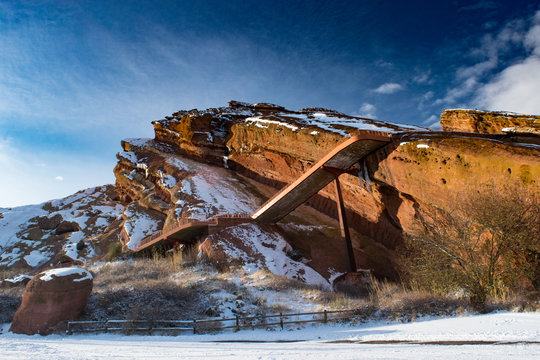 Red Rocks Amphitheater In Denver Colorado During Winter Months