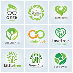 Collection of organic and green logo template